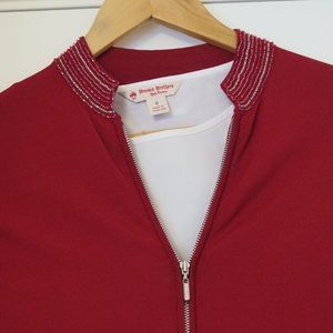 NEXT UK 🇬🇧 - Red bead edged zip up cardigan